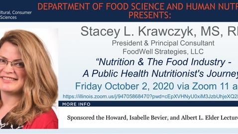 Thumbnail for entry FSHN 597 Fall 2020 Graduate Seminar- Dr. Stacey L. Krawczyk- Oct. 2, 2020