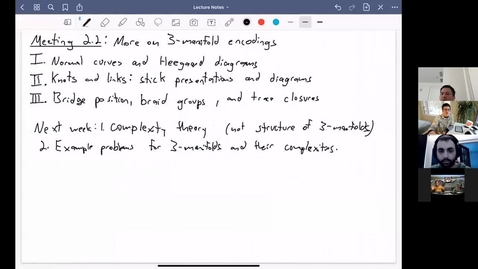 Thumbnail for entry Meeting 2.2: More on Heegaard diagrams, knots and knot equivalence