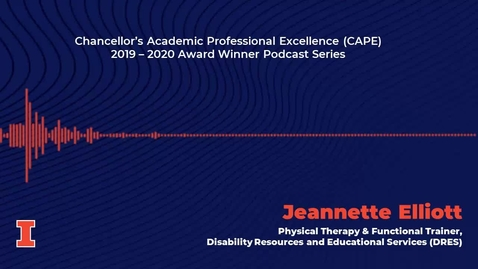 Thumbnail for entry Chancellor's Academic Professional Excellence (CAPE) Award 2019 - 2020 Winner: Jeannette Elliott