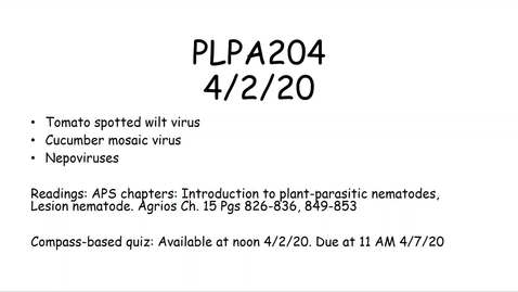 Thumbnail for entry PLPA204 Lecture 4/2/20