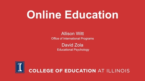 Thumbnail for entry Online Education