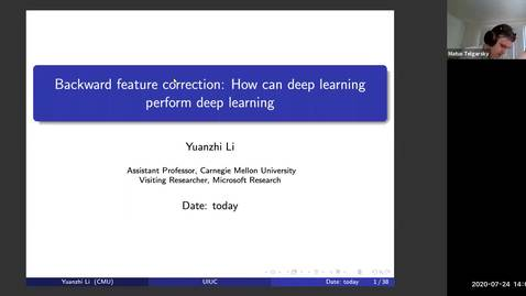Thumbnail for entry Backward feature correction: How can deep learning perform deep learning; Yuanzhi Li, IDS2 seminar series