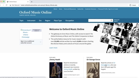 Thumbnail for entry Grove/Oxford Music Online Tutorial