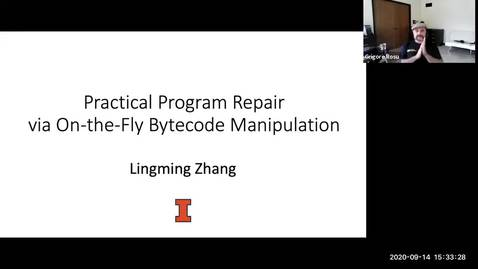 """Thumbnail for entry COLLOQUIUM: Lingming Zhang, """"Practical Program Repair via On-the-Fly Bytecode Manipulation"""""""