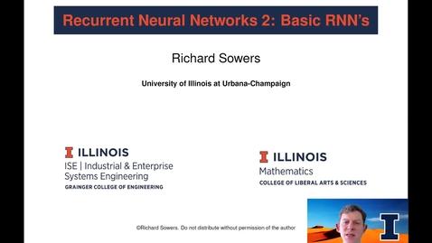 Thumbnail for entry Recurrent Neural Networks 2:  Basic RNN's