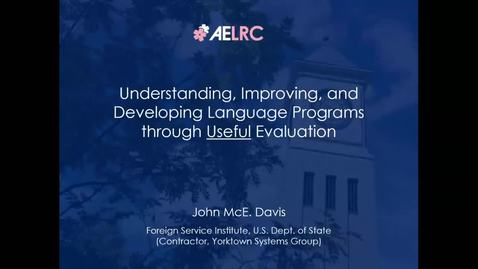 """Thumbnail for entry CLIC Webinar: """"Understanding, Improving, and Developing Language Programs through Useful Evaluation"""""""