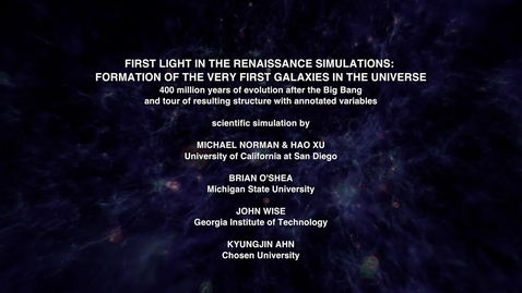 Thumbnail for entry First Light in the Renaissance Simulations: Formation of the Very First Galaxies in the Universe [variables w/labels]