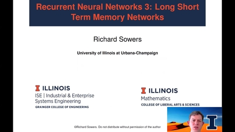 Thumbnail for entry Recurrent Neural Networks 3:  Long Short Term Memory networks