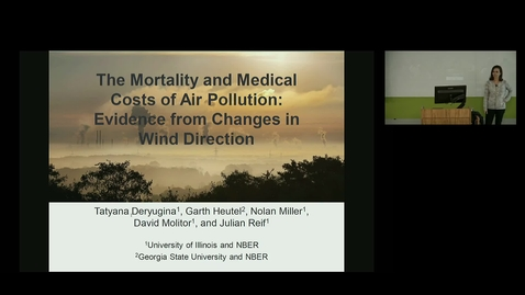 Thumbnail for entry NRES 500 Fall 2018 - Dr. Tatyana Deryugina - The Effect of Pollution on Health Care Utilization: Evidence from Changes in Wind Direction