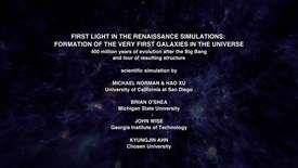 Thumbnail for entry First Light in the Renaissance Simulations: Formation of the Very First Galaxies in the Universe