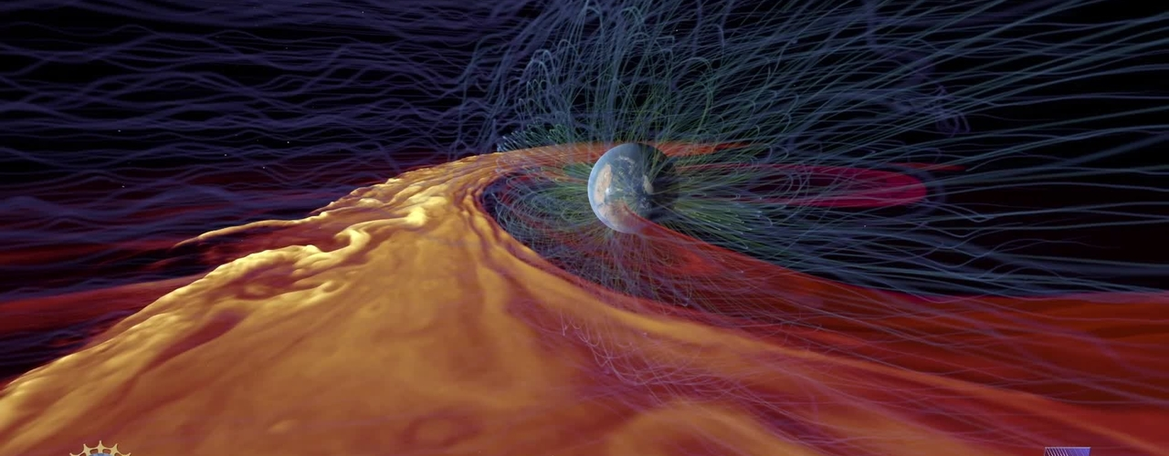 Solar Superstorms visualization excerpt: Solar Plasma Interacting with Earth's Magnetic Field