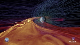 Thumbnail for entry Solar Superstorms visualization excerpt: Solar Plasma Interacting with Earth's Magnetic Field