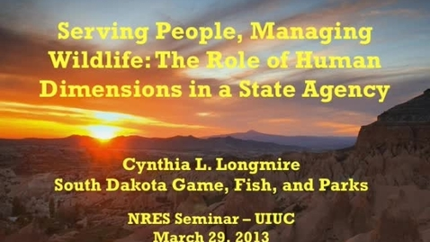 Thumbnail for entry NRES 2013 Spring Seminar Series - Cynthia L. Longmire