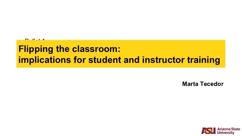 """Thumbnail for entry CLIC Webinar: """"Flipping the classroom: implications for student and instructor training"""""""