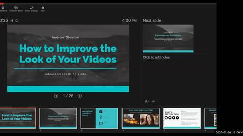 Thumbnail for entry Webmasters Workshop, Feb. 26, 2020: How to improve the look of your videos
