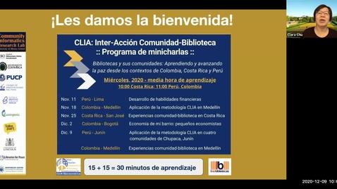 Thumbnail for entry CLIA: Inter-Acción Comunidad-Biblioteca---Programa de minicharlas--Dec 9, 2020