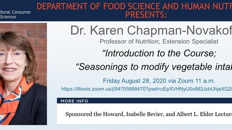 Thumbnail for entry FSHN 597 Fall 2020 Graduate Seminar- Dr. Karen Chapman-Novakofski- Aug. 28, 2020