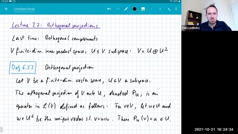 Thumbnail for entry MATH 416 Abstract Linear Algebra: Lecture 27