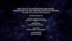 Thumbnail for entry First Light in the Renaissance Simulations: Formation of the Very First Galaxies in the Universe [evolution]