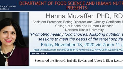 Thumbnail for entry FSHN 597 Fall 2020 Graduate Seminar- Dr. Henna Muzaffar- Nov. 13, 2020