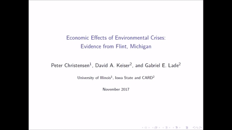 Thumbnail for entry NRES 500 Fall 2017 - Christensen et al - Economic Effects of Environmental Crises: Evidence from Flint, Michigan