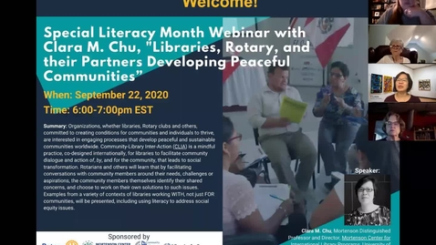 Thumbnail for entry Libraries, Rotary, and their Partner's Developing Peaceful Communities - Special Literacy Month Webinar on Sept 22, 2020