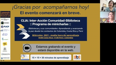 Thumbnail for entry CLIA: Inter-Acción Comunidad-Biblioteca Programa de minicharlas--Abr 14, 2021