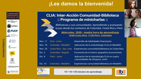 Thumbnail for entry CLIA: Inter-Acción Comunidad-Biblioteca Programa de minicharlas--Nov 18, 2020