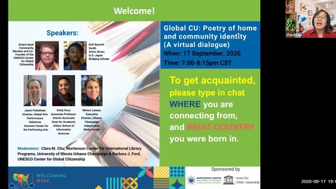 Thumbnail for entry Welcoming Week 2020 - Global CU: Poetry of home and community identity