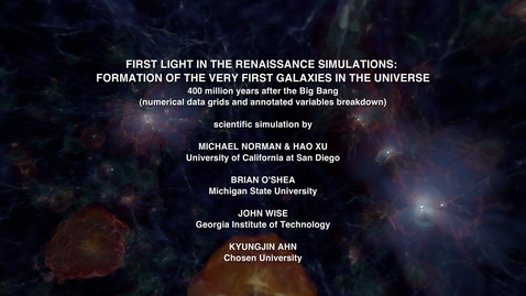 Thumbnail for entry Tour of First Light in the Renaissance Simulations at 400 Million Years after the Big Bang [data variables, grids, and labels]