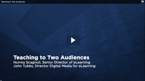 Thumbnail for entry Teaching to Two Audiences
