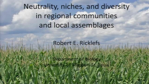 Thumbnail for entry NRES 2011 Fall Seminar Series - Robert E. Ricklefs