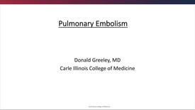 Thumbnail for entry Pulmonary Embolism - September 16th 2018, 4:39:00 pm