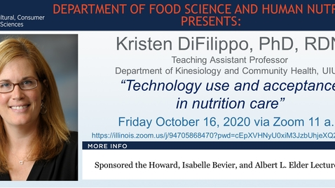 Thumbnail for entry Fall 2020 FSHN 597 Graduate Seminar- Dr. Kristen DiFilippo- Oct. 16, 2020