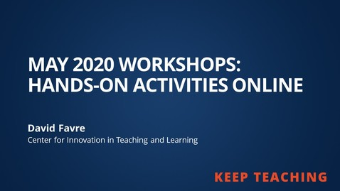 Thumbnail for entry Hands-on Activities Online from May 2020 Workshops