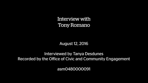 Thumbnail for entry Interview with Tony Romano