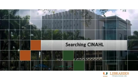 Thumbnail for entry Nursing 2 - Searching CINAHL