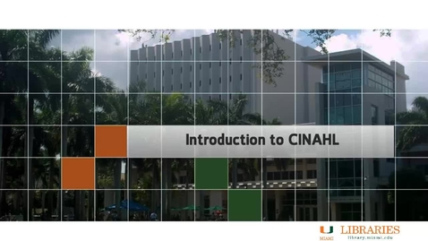 Thumbnail for entry Nursing 1 - Introduction to CINAHL