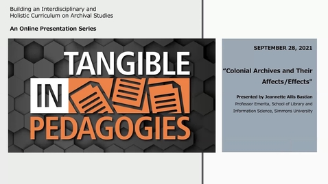 Thumbnail for entry Colonial Archives and Their Affects/Effects (In/Tangible Pedagogies)