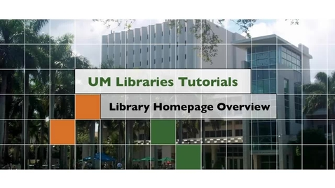 Thumbnail for entry Library Homepage Overview
