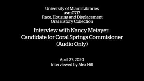 Thumbnail for entry Interview with Nancy Metayer