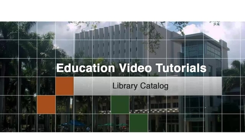 Thumbnail for entry Education 3 - Library Catalog