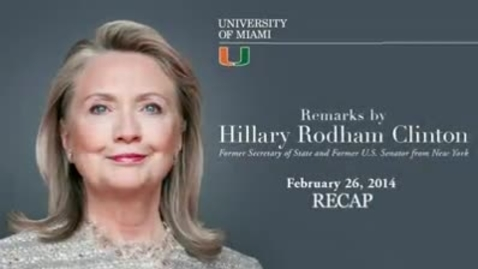 Thumbnail for entry Hillary Rodham Clinton visits the University of Miami