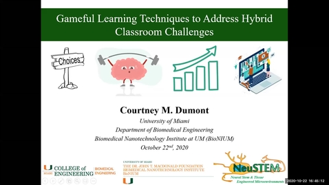 Thumbnail for entry Gameful Learning Techniques to Address Hybrid Classroom Challenges (2020 Faculty Showcase)