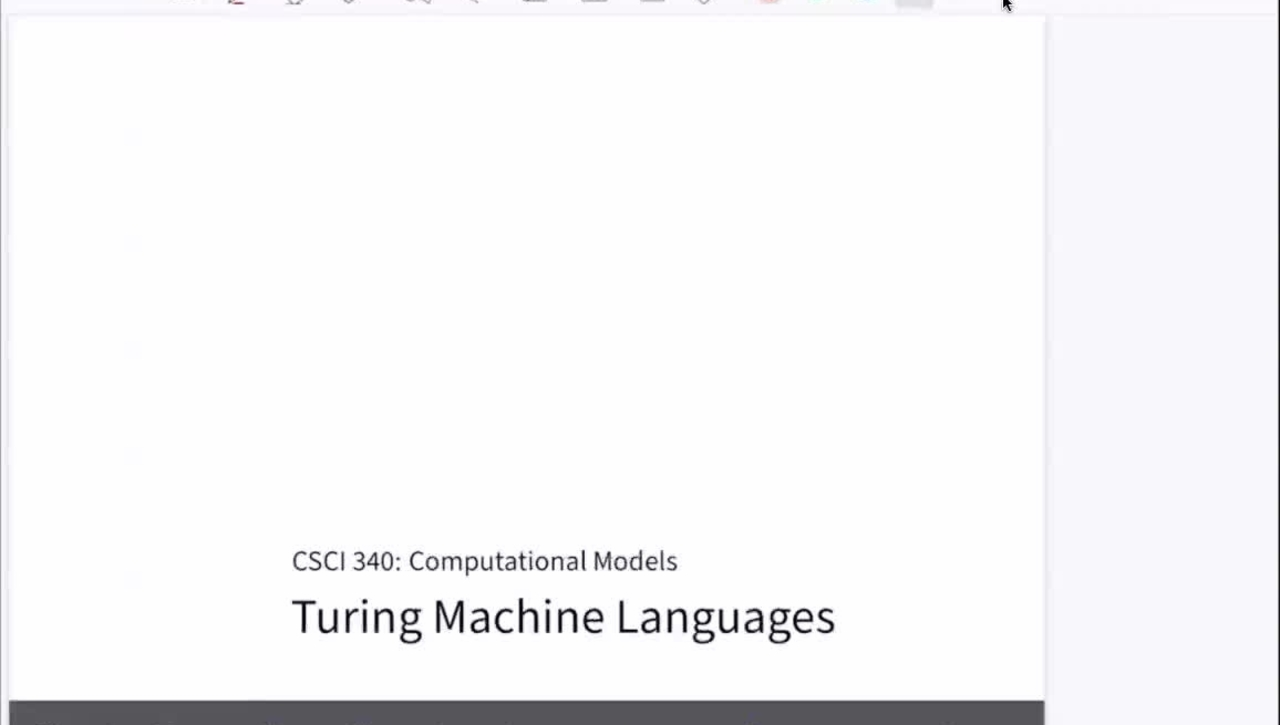 Chapter 23: Turing Machine Languages [Apr 20] [CSCI 340.50A]