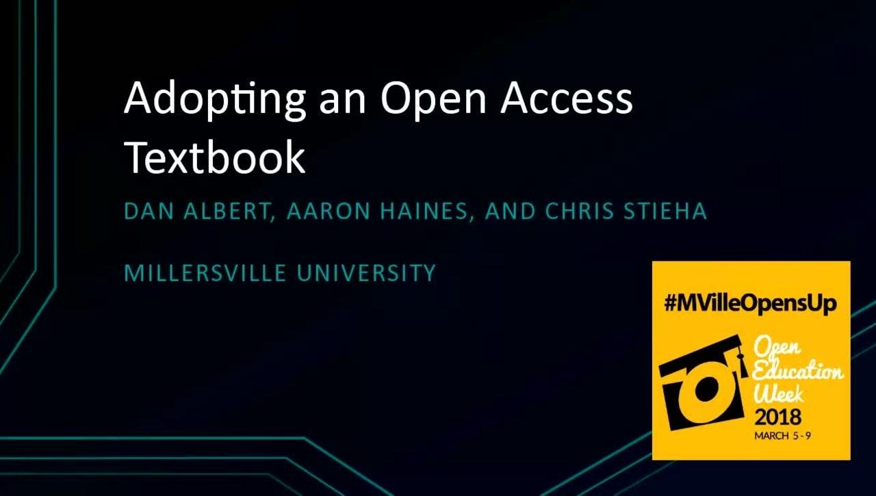 MU Opens Up: Adopting an Open Access Textbook