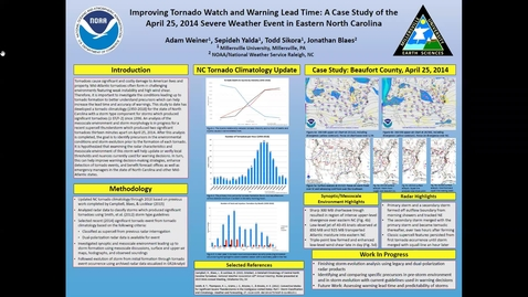 Thumbnail for entry Improving Tornado Watch and Warning Lead Time: A Case Study of the April 25, 2014 Severe Weather Event in Eastern NC