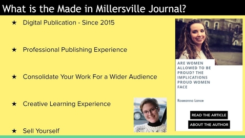 Thumbnail for entry Presentation of the Made in Millersville Journal and 2020 Editorial team