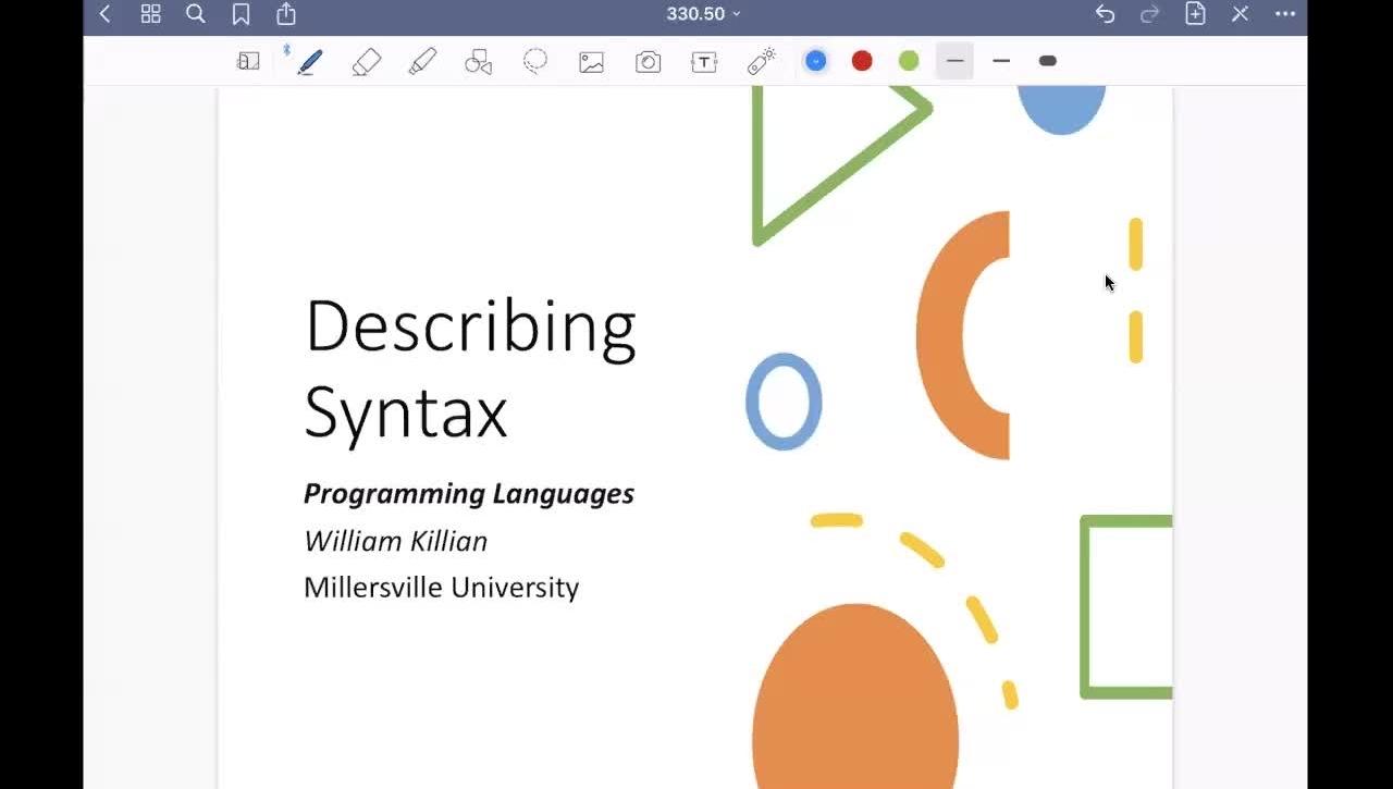 Describing Syntax [Feb 4] [CSCI 330.50]