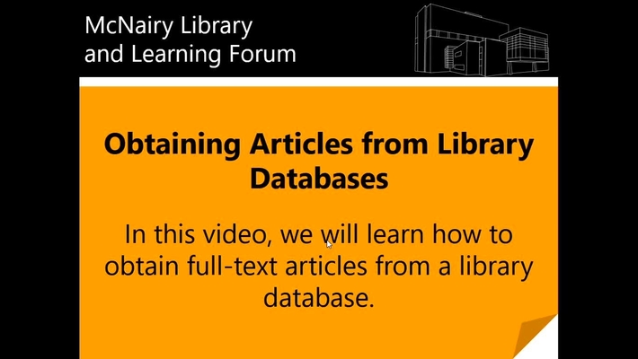 Obtaining Articles from Library Databases